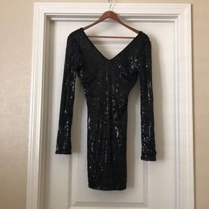 Guess black sequin long sleeve dress